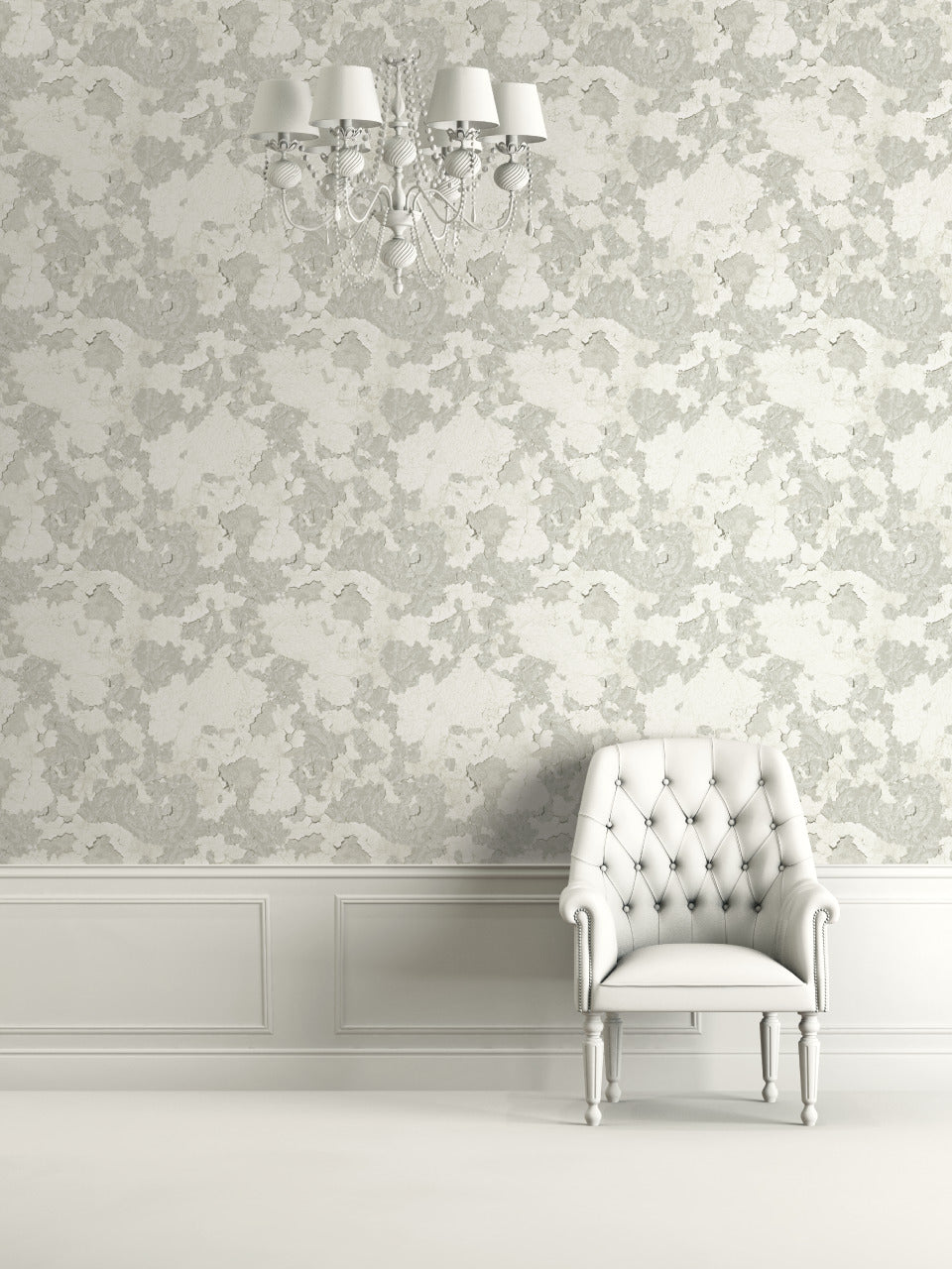 Floral Plaster White and Grey Wallpaper R4789. Floral Wallpaper.
