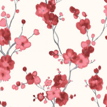 Watercolor Minimalist Blossoms Floral Wallpaper Red And