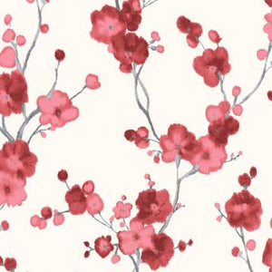Watercolor Minimalist Blossoms Floral Wallpaper Red and White R4694
