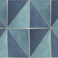 Blue Grey Geometric Tiles Wallpaper R4766 | Classic Home Wall Covering