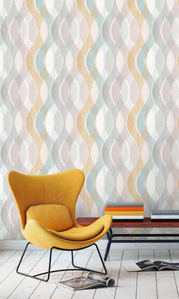 funky geometric home office wallpaper ideas