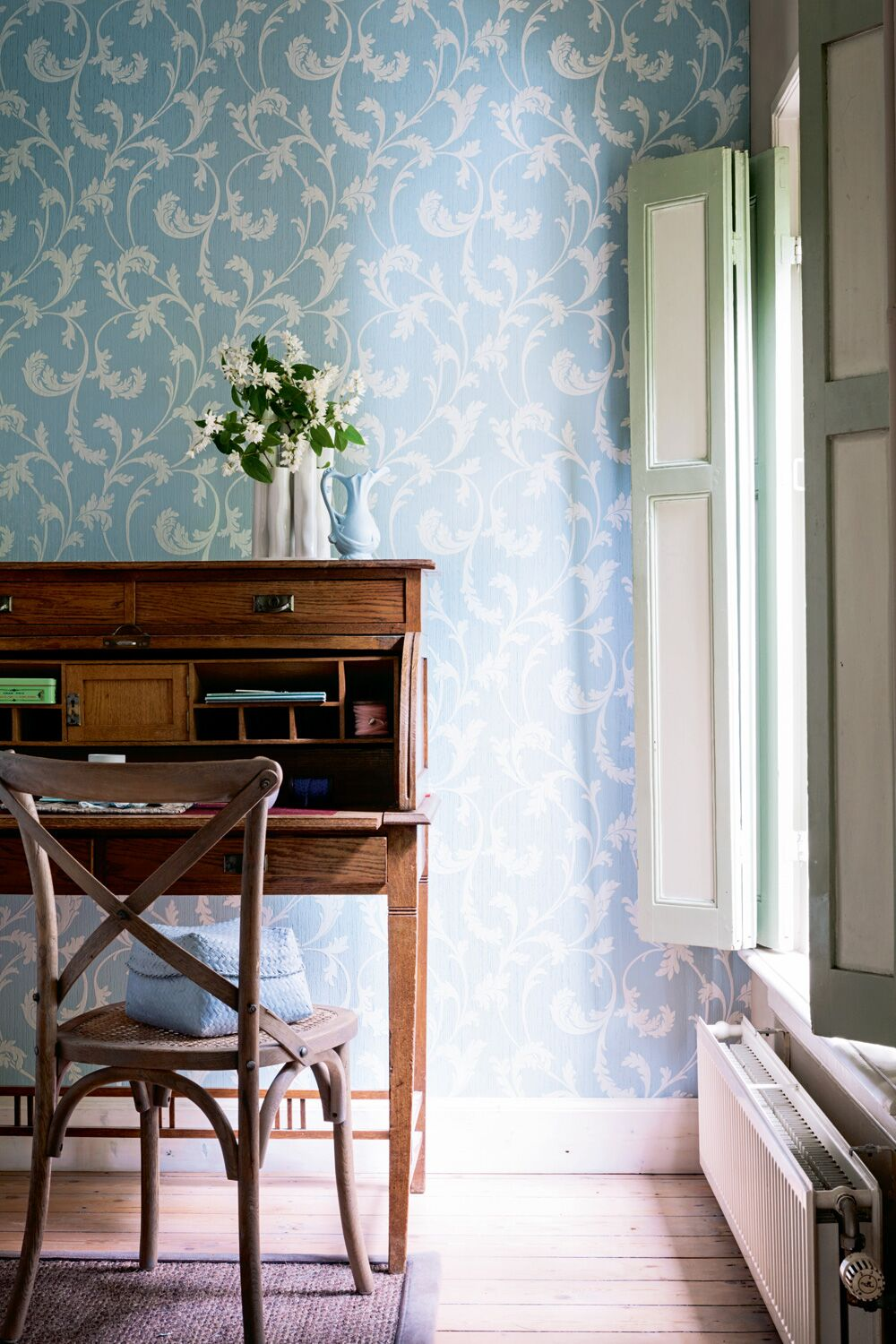 Powder Blue Fable Traditional Floral Wallpaper R2628. Floral Wallpaper.