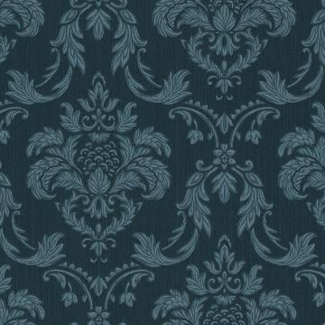 Large Two Tone Damask Linen Wallpaper Blue R4710