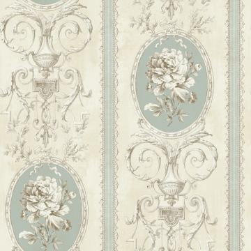Beige Floral Frame Wallpaper R4875 | Elegant Home Wallcovering, green wallpaper