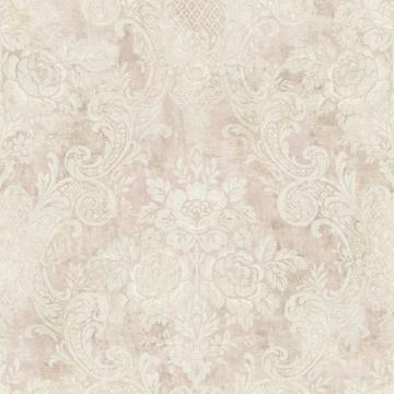 Rustic Painted Damask Wallpaper Pastel Pink R4852