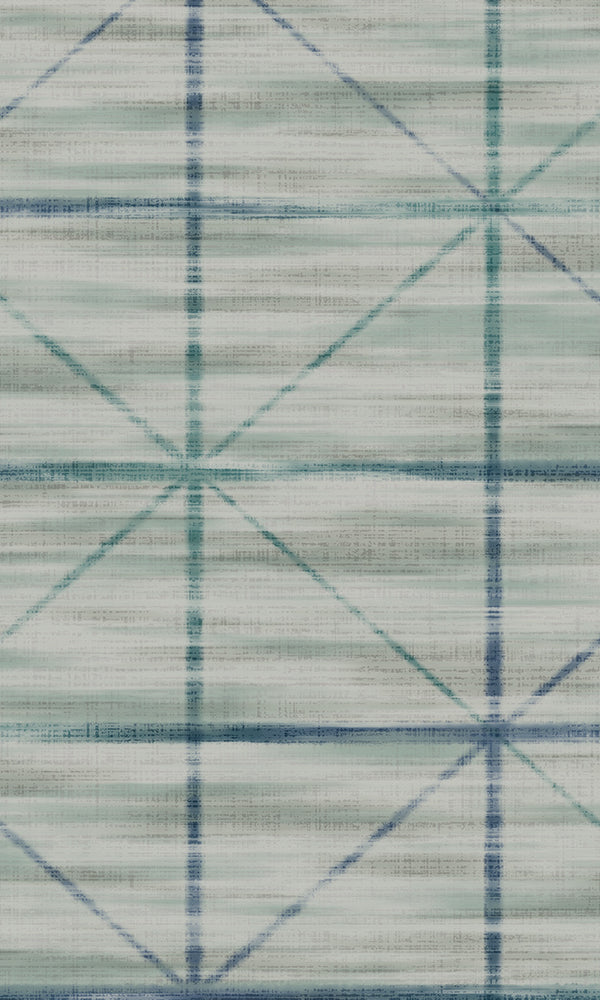 Blue & Green Star Grid Wallpaper R5654 | Elegant Bedroom Interior