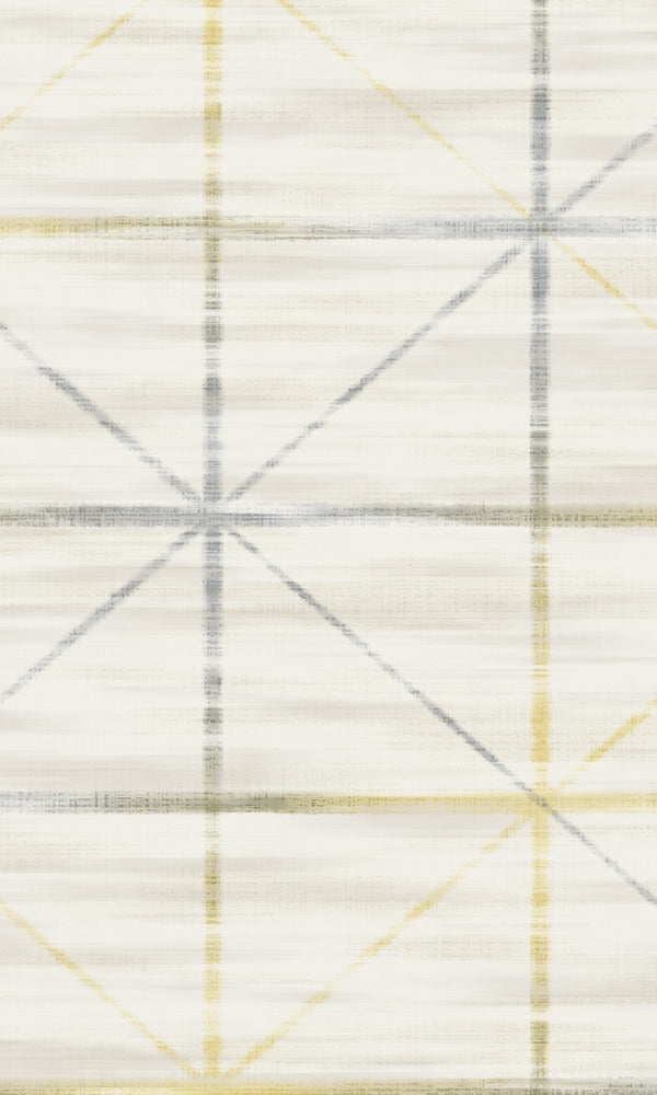 Mustard & Grey Star Grid Wallpaper R5655. Geometric wallpaper.