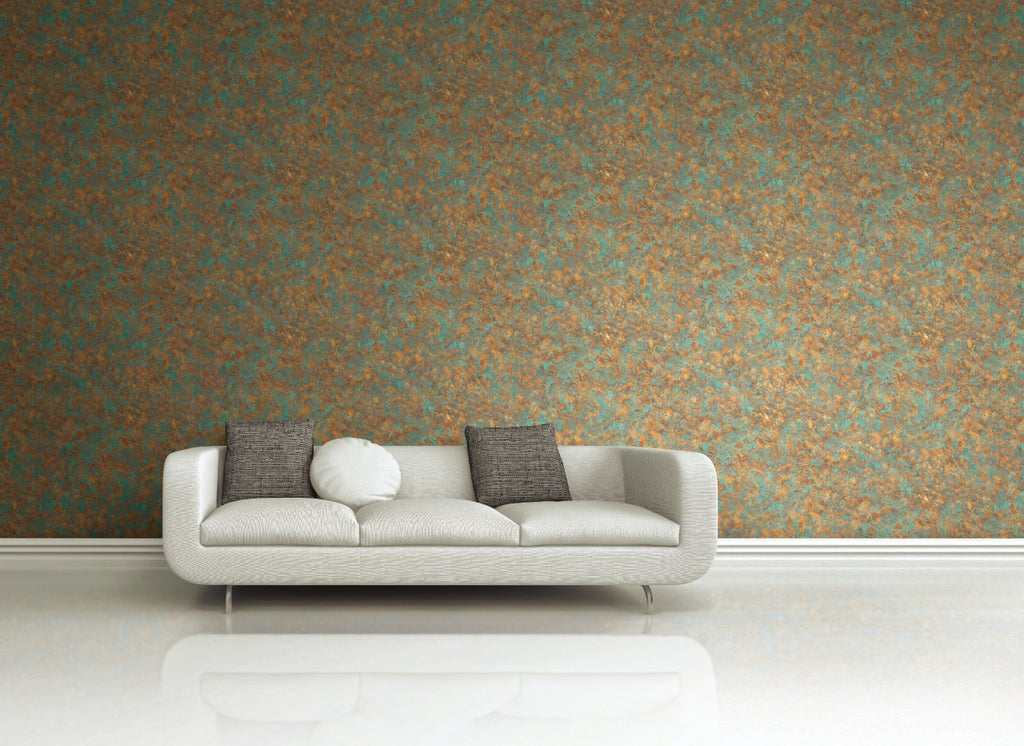 Painted Textures Wallpaper Orange and Turquoise R4780