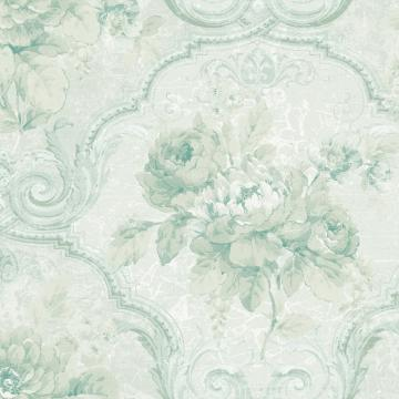 Framed Regal Floral Wallpaper Green R4833