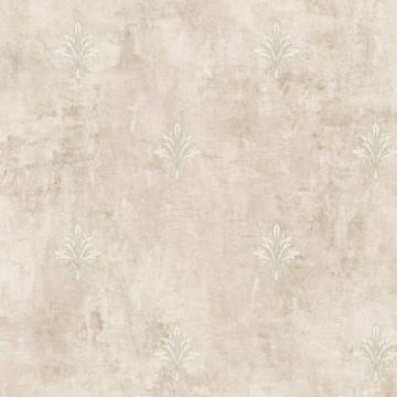 Painted Fleur De Lis Wallpaper Taupe and White R4849
