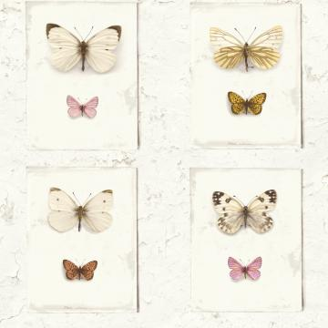 Vintage Butterfly Weathered Rustic Off White & Pink Flutter Wallpaper R3703