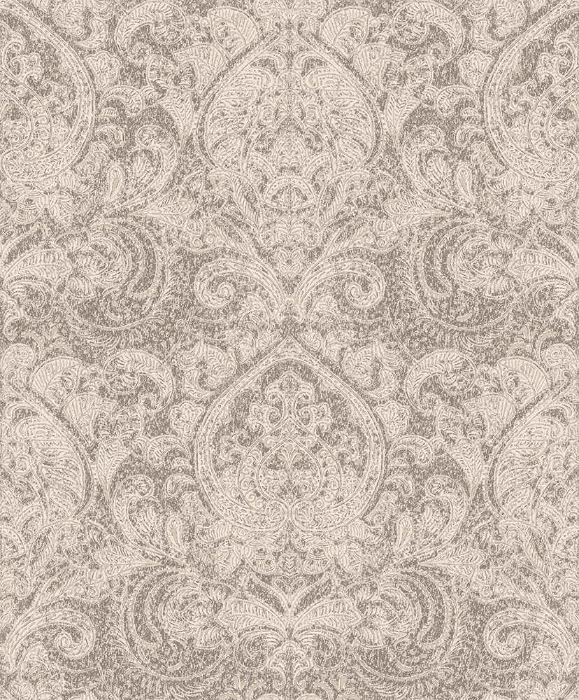 Brown Damask Wallpaper R3416 | Traditional Home Wallcovering