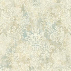 Rustic Painted Damask Wallpaper Taupe and Blue R4850