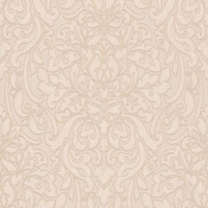 Beige Linen Damask Wallpaper R4712 | Traditional Home Wall Covering,  living room, bedroom, dining room, powder room