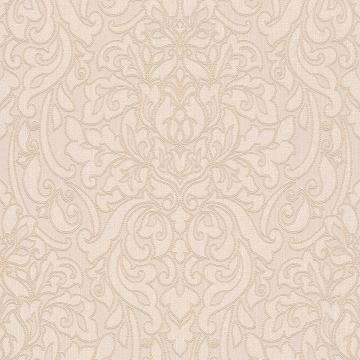 Lace Damask Linen Wallpaper Cream and Beige R4712