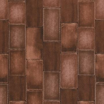 Faux Stitched Dark Brown Leather Wallpaper R4381