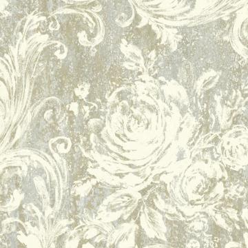 Grey and Gold Swirling Brushstrokes Wallpaper R4862