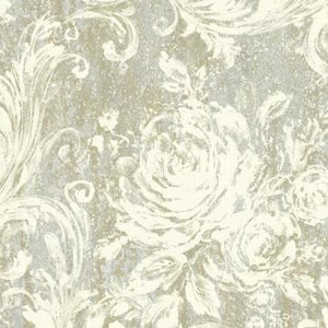 Swirling Brushstrokes Wallpaper Grey and Gold R4862