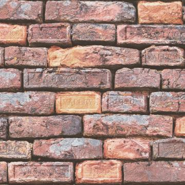 Vintage Deep-set Brick Wallpaper Red and Orange R4804