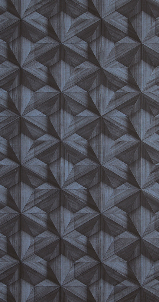 faux wood wallpaper, Dark Faux Wood Hexagon Wallpaper R5354 | Contemporary Home Interior