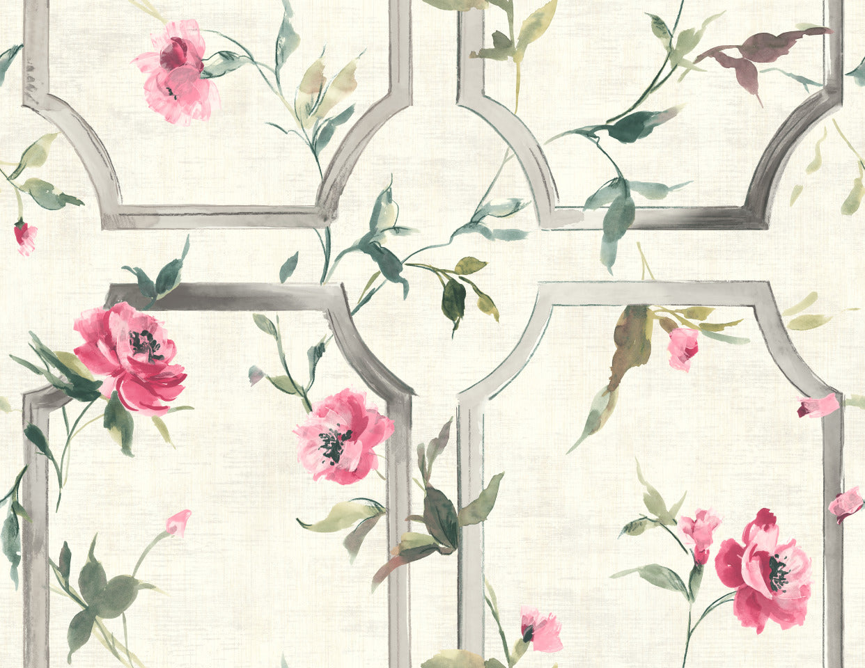 Pink Watercolor Vintage Wallpaper R5039 Floral Wallpaper Walls