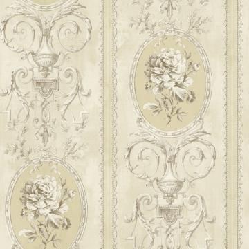Beige & Yellow Floral Frame Wallpaper R4877 | Floral Home Interior