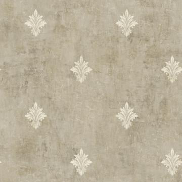 Painted Fleur De Lis Wallpaper Taupe and White R4848