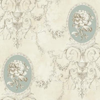 Regal Floral Locket Wallpaper Beige and Light Blue R4868