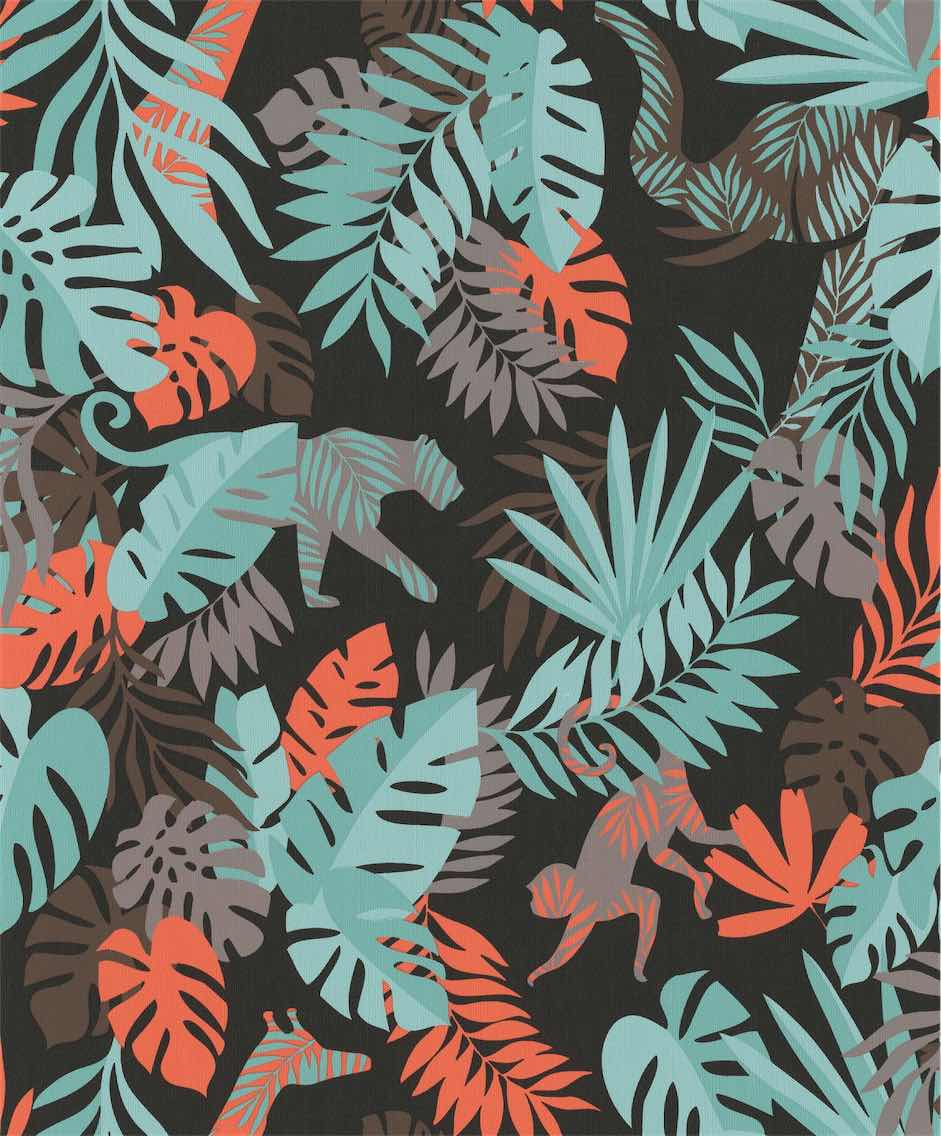 Multi-Color Jungle Plants Wallpaper R5452. Children's wallpaper