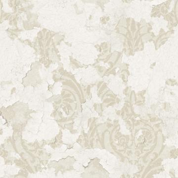 White and Beige Floral Damask Wallpaper R4790