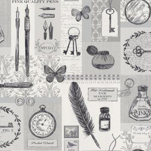 Grey Vintage Panels Printed Wallpaper R2951