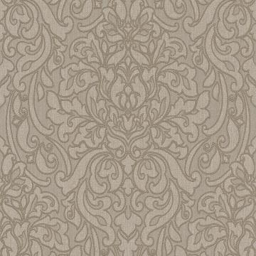 Lace Damask Linen Wallpaper Brown and Taupe R4715