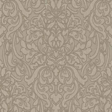 Grey Damask Linen Wallpaper R4715 | Vintage Home Interior