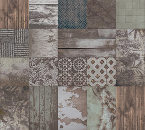 Collage Worn Tiles Mural Wallpaper M9202 - Sample