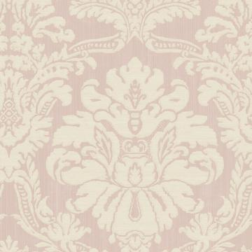 Glittered Damask Wallpaper Pink and White R4879