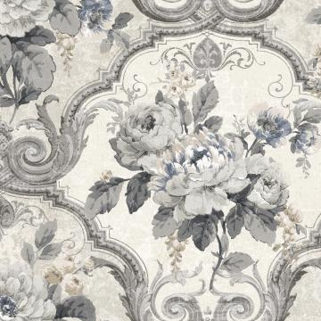 dark vintage floral wallpaper, White & Grey Framed Regal Floral Wallpaper R4835 | Vintage Home Decor