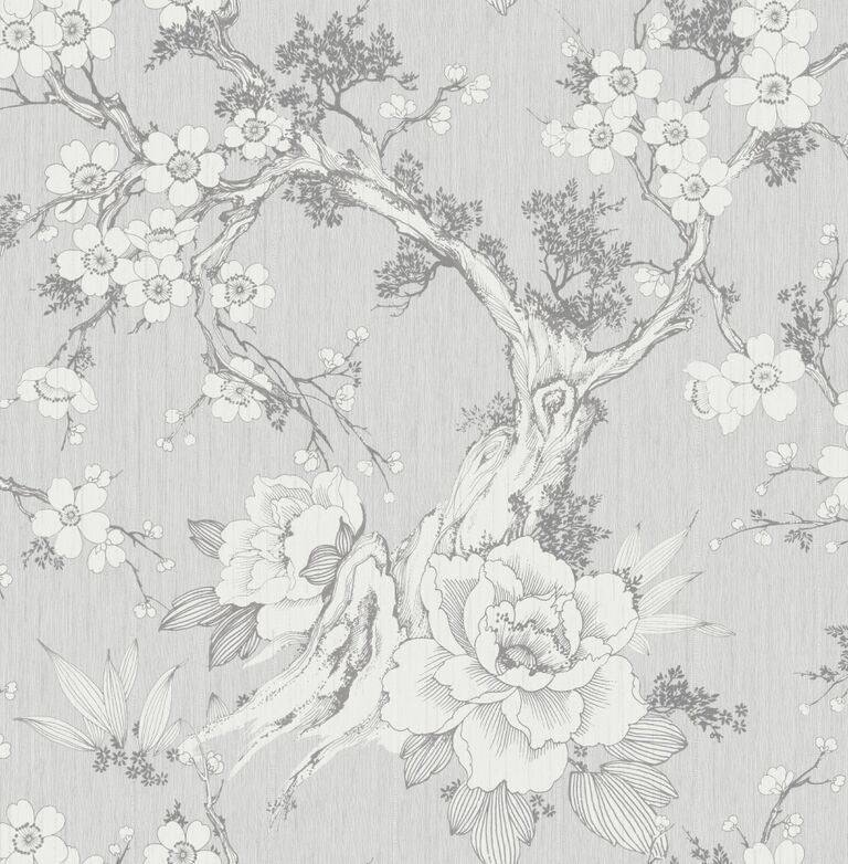 Wooden Black and White Vintage Floral Print Wallpaper R5064