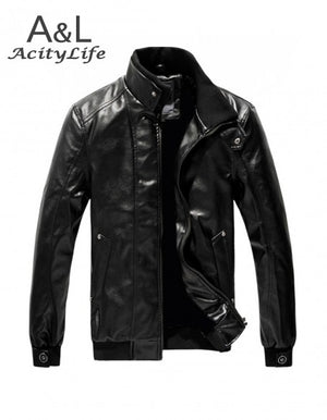 Winter Autumn High-grade Quality Casual Stand Collar Leather Jacket Men Jaqueta Couro Color Black Brown 4 SZIES 18