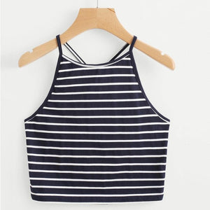 Sexy Short Cropped Crop Top Sleeveless Navy T-Shirt Backless Tops