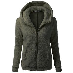 Women Hooded Sweater Coat Wool Zipper Coat