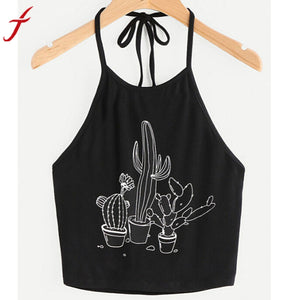 Summer Sexy Bustier Crop Tops Women Funny Printed Vest Top Casual Sleeveless Tank Tops T-Shirt Black Camis Vest