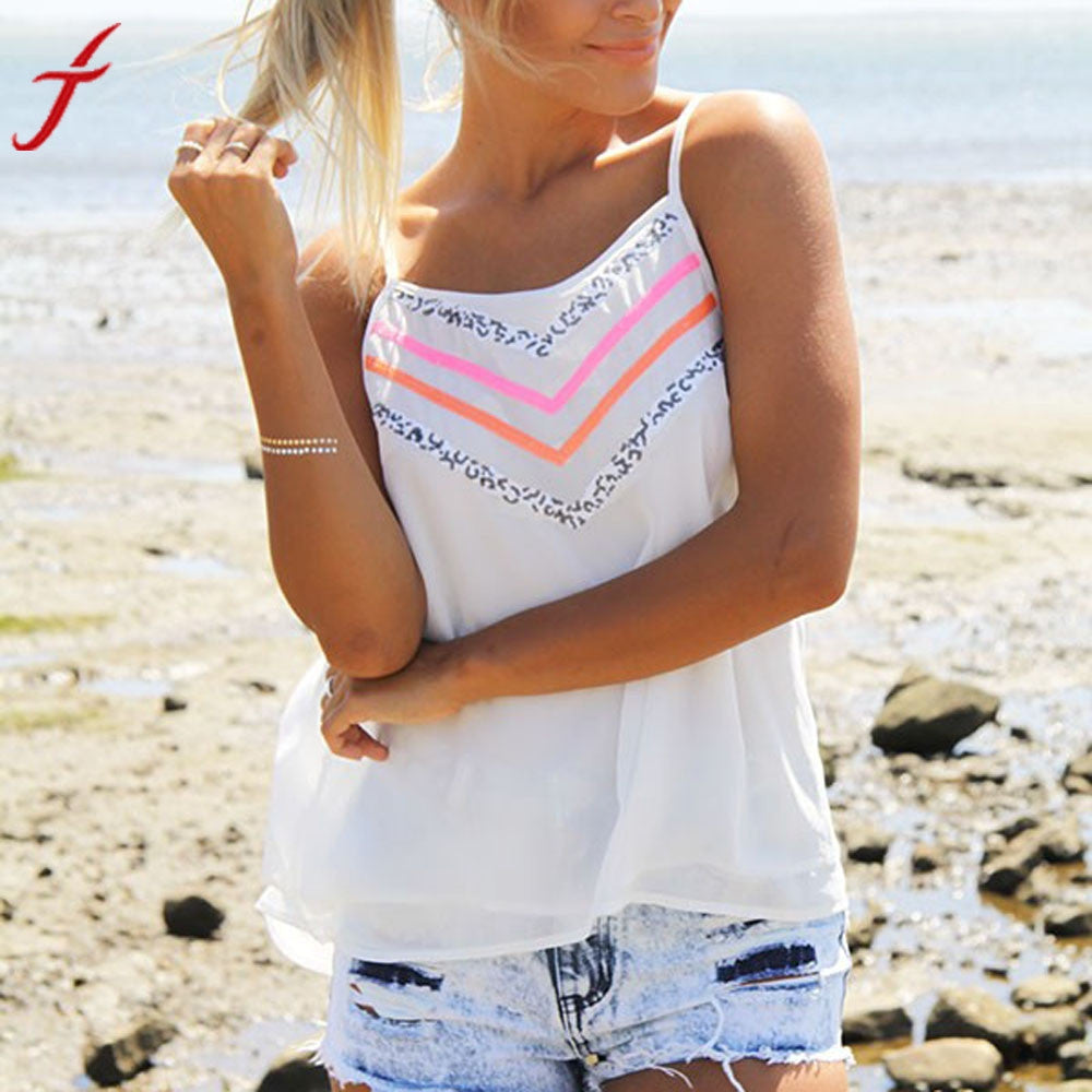 Summer Beach Wear Shirt 2017 Fashion Womens Printing Camis Sexy Sleeveless Tank Crop Tops Vest T-Shirt White bustier crop top