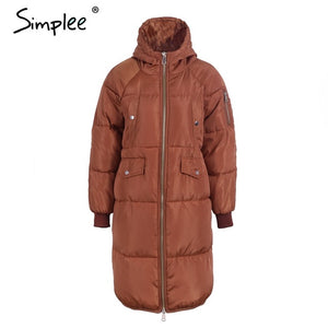 Simplee Fashion warm parka jacket coat Streetwear large sizes winter jacket coat women Casual long coat female autumn outerwear