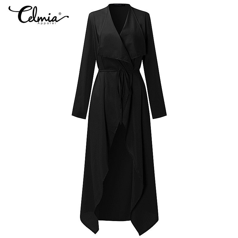 Women Casual Coat Thin Long Cardigan Overcoat Elegant Belted Duster Jacket Overall Outwear Sexy Plus Size 3XL 2018 Autumn Spring