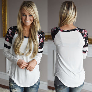 Women Floral Splice Printing Long Sleeve Round Neck Pullover Blouse Tops T Shirt