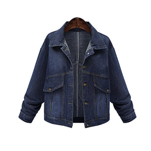 Women Fashion Denim Jacket Coat 2018 Autumn Long Sleeve Turn Down Collar Loose Coat  Casual Pockets Outwear Plus Size