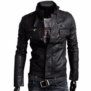 Classic Style Motorcycle Leather Jacket.