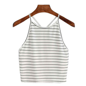Women Fashion Sexy Striped Tank Top Sleeveless T-Shirt Tops