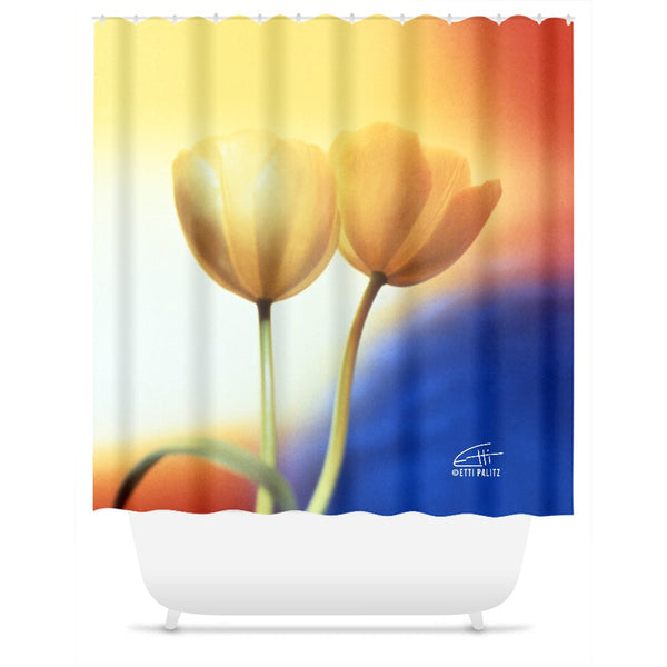 Flowers After Dark 'Touching' Shower Curtain