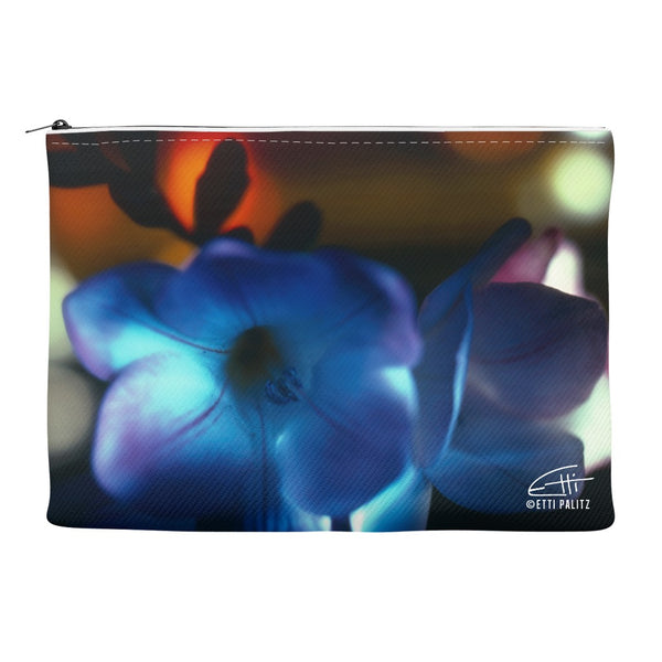 Flowers After Dark 'Blue Freesia' Canvas Cosmetic Clutch